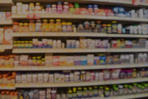 Product line presented on shelves in a pharmacy